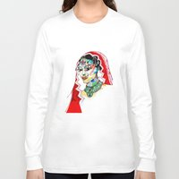 indian Long Sleeve T-shirts featuring Indian by Cemile Demir Uzunoglu