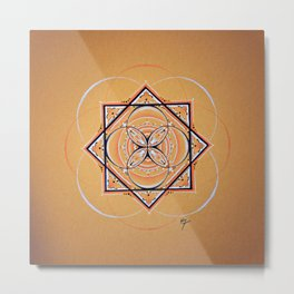 Orange Seed Mandala Metal Print