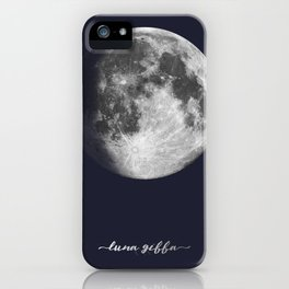 Waxing Gibbous Moon on Navy Latin iPhone Case