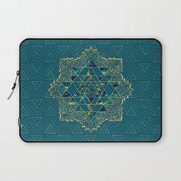 Sri Yantra  / Sri Chakra Gold, Marble and Teal Laptop Sleeve