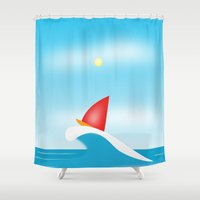 ski Shower Curtains featuring Abstact Surf Ski by Petellgra
