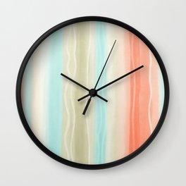 Peach and Aqua Watercolor Striped Pattern Wall Clock