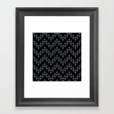 Art Deco 46 . Fishnet black gray zigzag . Framed Art Print