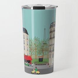 Paris Street Scene Art Print - Daytime Travel Mug