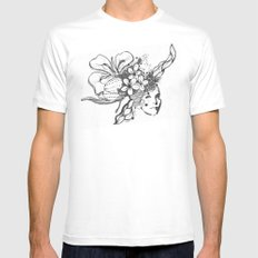 Abstract Head Dress White Mens Fitted Tee MEDIUM
