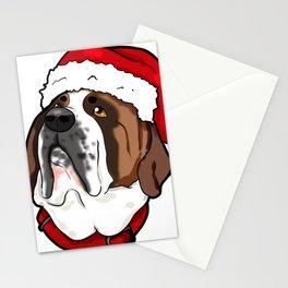 St. Bernard Saint Dog Christmas Hat Present Stationery Cards