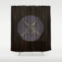 skyrim Shower Curtains featuring Shield's of Skyrim - Riften  by VineDesign
