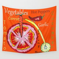vegetables Wall Tapestries featuring Vegetables by Sartoris ART