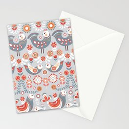 Seamless pattern with flowers. The Scandinavian style. Folk art. Stationery Cards
