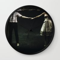 large Wall Clocks featuring abyss of the disheartened : IX by Heather Landis