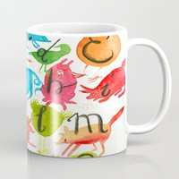 alphabet Mugs featuring Alphabet by zuzia turek