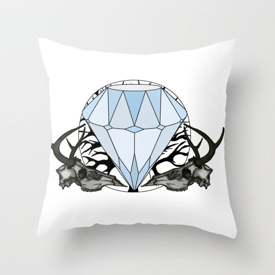 Diamond and skulls Throw Pillow
