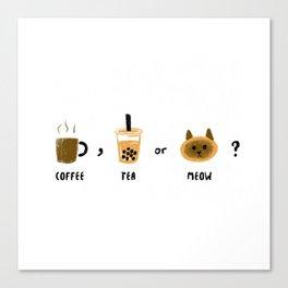 Coffee, tea or meow?_Siamese cat Canvas Print