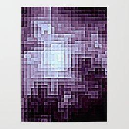 Nebula Pixels Dark Plum Purple Poster
