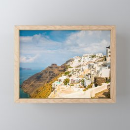 The beautiful white village of Fira, Santorini, Greece. Toned Framed Mini Art Print