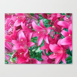 Bouquet of purple lilies Canvas Print