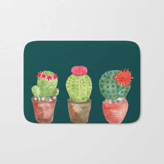 Three Cacti watercolor green Bath Mat