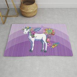 Magical Unicorn in a Hazy Purple Sunset Rug