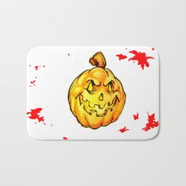 Scary pumpkim face Bath Mat