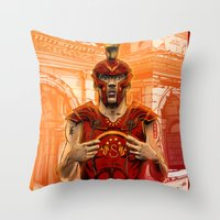 gladiator Throw Pillows featuring German Gladiator Podolski by Akyanyme