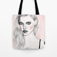 megan lara Tote Bags featuring Lara by Katie Jagielnicka