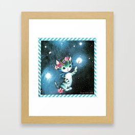 Space Witch Cat handcut collage Framed Art Print