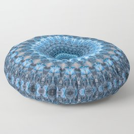 Digital mandala with light blue dominant. Floor Pillow