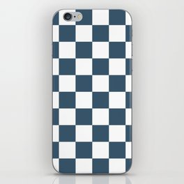 Dusky Blue Checkers Pattern iPhone Skin