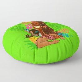 Retro Tiki Temptress in PInk Leopard Print Floor Pillow
