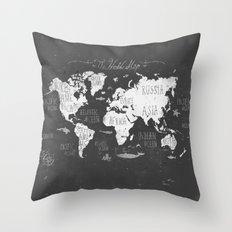 The World Map B/W Throw Pillow