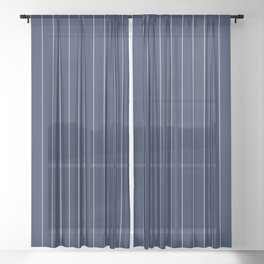 Navy Blue Pinstripes Line Sheer Curtain