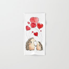 Hedgehogs in Love, illustration of hedgehog sweethearts with balloons. Hand & Bath Towel