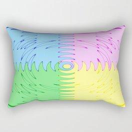 Color Blocks in Blue, Pink, Green & Yellow - Wave Saw Design Rectangular Pillow