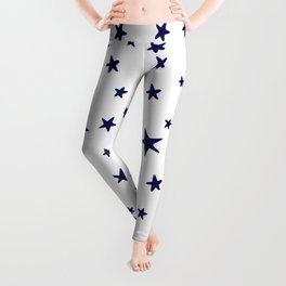 Stars - Navy Blue on White Leggings