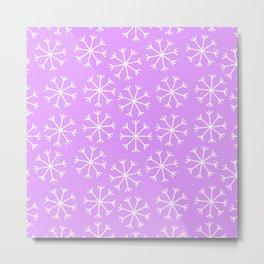 Hand painted modern lilac white Christmas snow flakes Metal Print