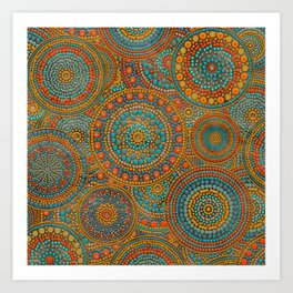 Dot Art Circles Orange and Blues Art Print