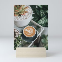 Latte + Plants II Mini Art Print