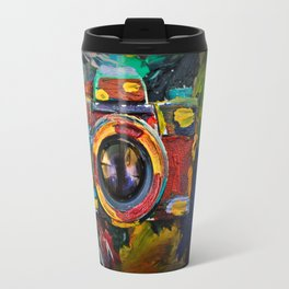 Painted old film camera on art background of palette covered with paint strokes. Travel Mug