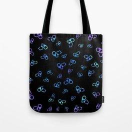 Kinky Purple and blue Handcuffs on Black Tote Bag