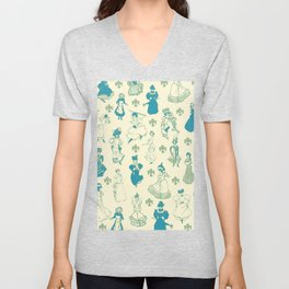 Vintage Ladies BLUE BEIGE / 18th and 19th century illustrations of women Unisex V-Neck