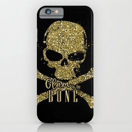 Black Glam to the Bone Skull iPhone Case