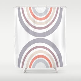 Modern Double Rainbow Hourglass in Muted Earth Tones Shower Curtain
