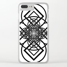 Diamonds Over Not Quite Spades B&W Clear iPhone Case