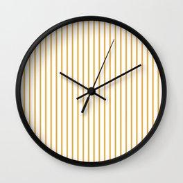 Marigold Yellow Pinstripe on White Wall Clock