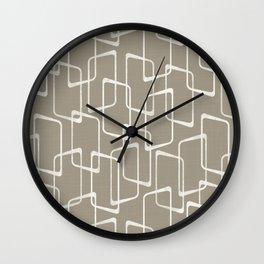 Retro Rounded Rectangles in Medium Warm Gray Wall Clock