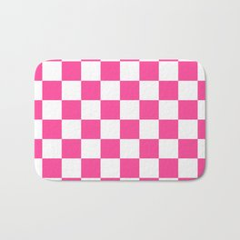 Cheerful Pink Checkerboard Bath Mat
