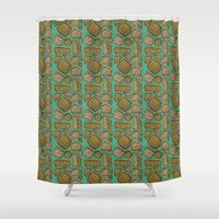 mid century Shower Curtains featuring Mid century ochre by KITTY COLES