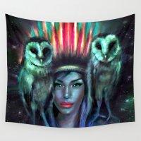 owls Wall Tapestries featuring Owls by Slaveika Aladjova