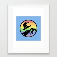 snowboarding Framed Art Prints featuring snowboarding 2 by Paul Simms