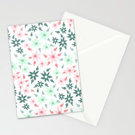 Minty Floral Stationery Cards